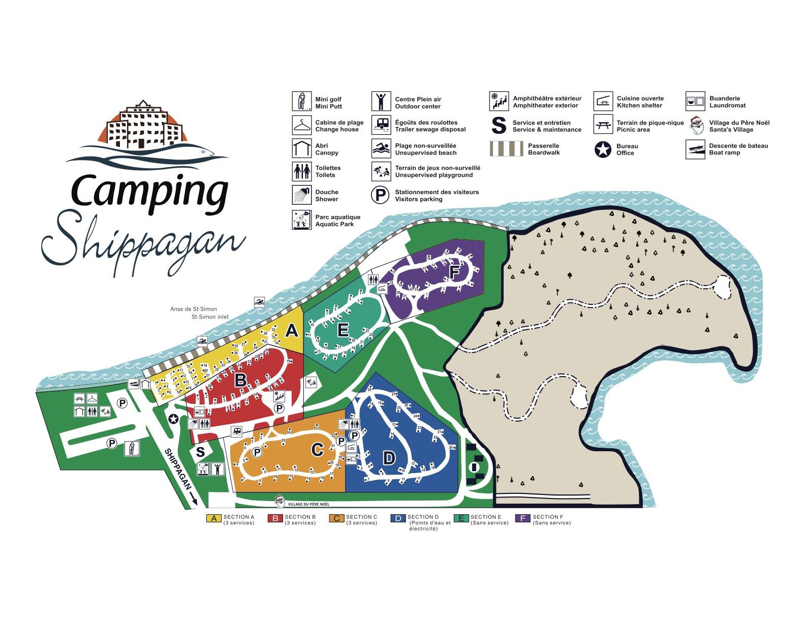 Plan du Camping Shippagan - Attrait Quoi faire Camping Shippagan - Nouveau-Brunswick N.B - Réservation - Plein Air